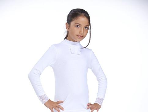 Zeyzey Ribana Dantelli Kız Çocuk T-Shirt Beyaz